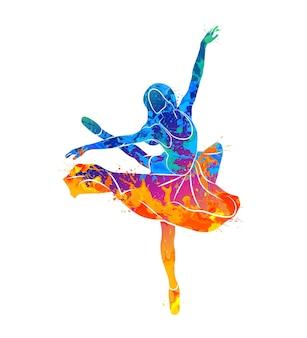 Dansend meisje in aquarel concept Premium Vector