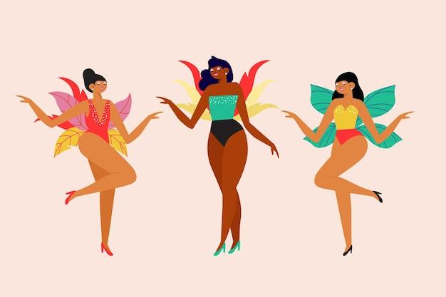 Dansend mensen braziliaans carnaval dat op roze achtergrond wordt geïsoleerd