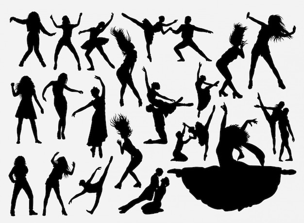 Dansende activiteit silhouet