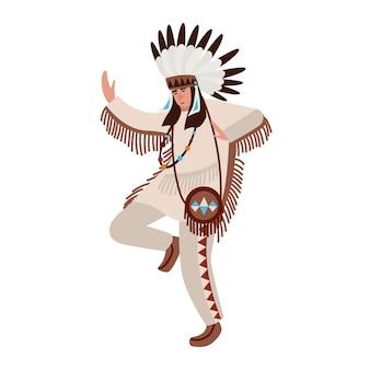 Dansende amerikaanse indiaan die etnisch kostuum en oorlogsmuts draagt. mens die stamdans van inheemse volkeren van amerika uitvoert. mannelijke stripfiguur geïsoleerd op een witte achtergrond. vector illustratie.