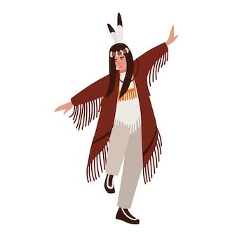 Dansende amerikaanse indiaan die etnische kleding draagt. man die rituele dans van inheemse volkeren van amerika uitvoert. mannelijke stripfiguur geïsoleerd op een witte achtergrond. vectorillustratie in vlakke stijl.