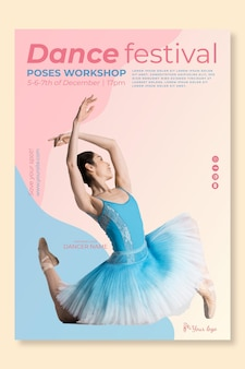 Dansende festival sjabloon poster