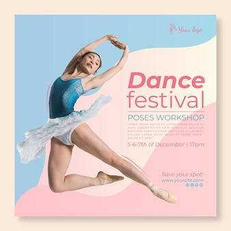 Dansende festival vierkante flyer-sjabloon