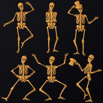 Dansende gouden skeletten