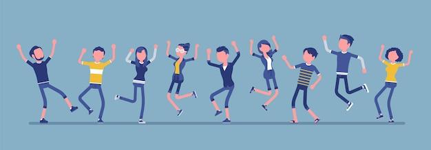Dansende groep gelukkige mensen