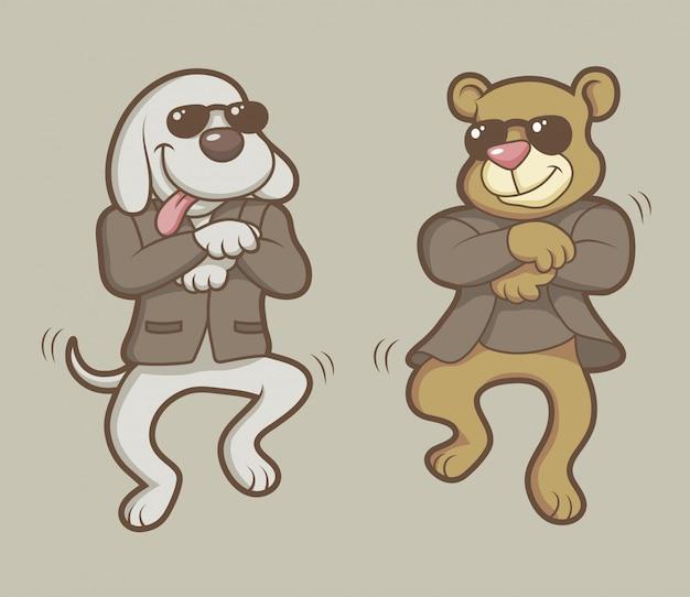 Dansende hond en beer stripfiguur