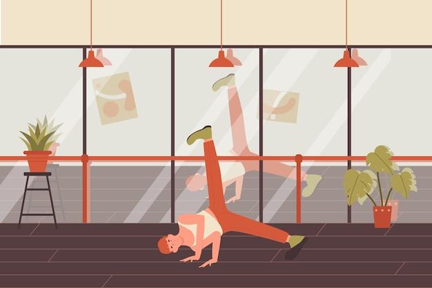 Dansende jonge man illustratie. Premium Vector