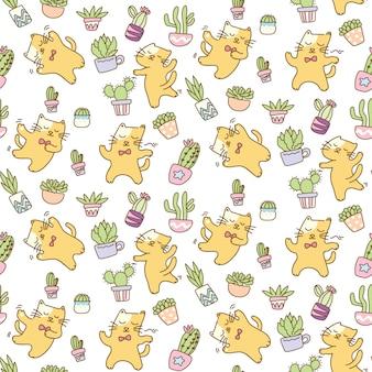 Dansende katten met achtergrond van het cactus de naadloze patroon