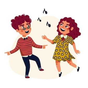 Dansende kinderen cartoon illustratie van gelukkige multiculturele kinderen
