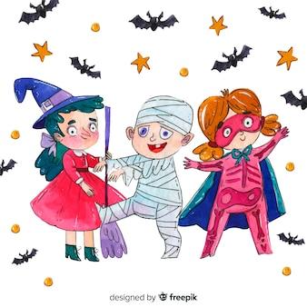 Dansende kinderen in kostuums halloween-collectie