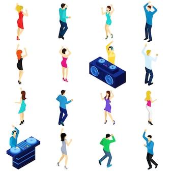 Dansende mensen isometrisch