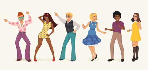 Dansende mensen. man en vrouw in jaren '60, '70 stijl. cartoon afbeelding. | Premium Vector