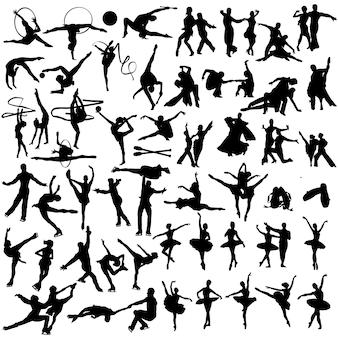 Dansende mensen silhouet illustraties