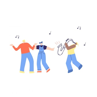 Dansende muziekmensen en saxofoonillustratie