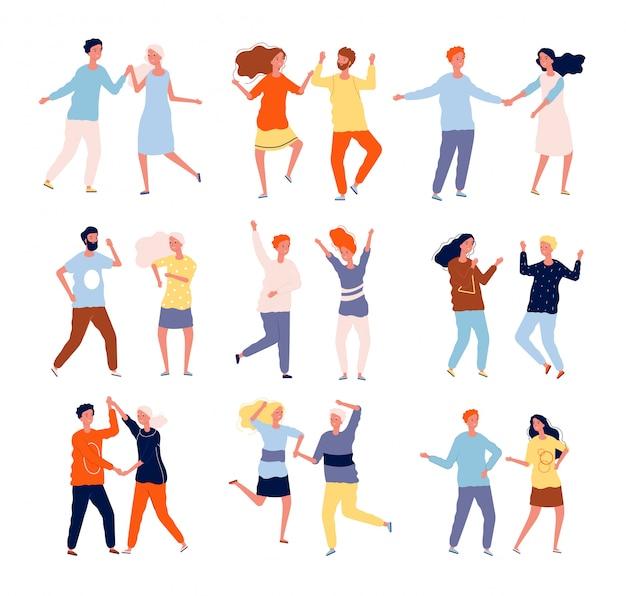Dansende stellen. grappige mensen mannelijke en vrouwelijke menigte dansen tango salsa chacha gelukkige karakters collectie