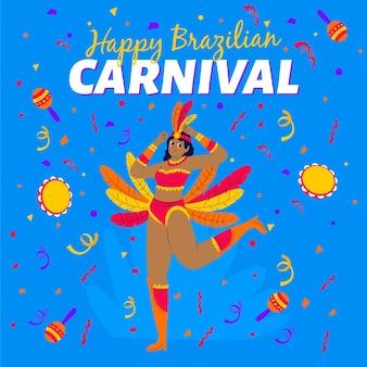 Dansende vrouw die gouden en rode veren draagt voor carnaval-partij
