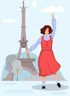 Dansende vrouw in sundress-achtergrond de toren van eiffel.