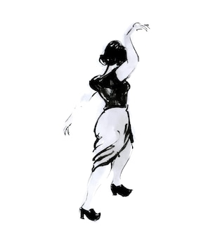 Dansende vrouw inkttekening zwart-wit afbeelding van elegante pose meisje retro schommel danser