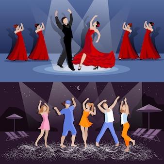 Dansers in bewegingsbanner