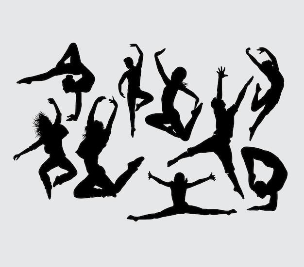 Dansers mannelijk en vrouwelijk gebaar silhouet