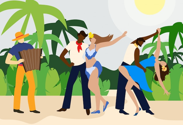 Dansers met partners dance. accordeon spelende man