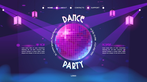 Dansfeest cartoon bestemmingspagina met gloeiende discobal op paars neon