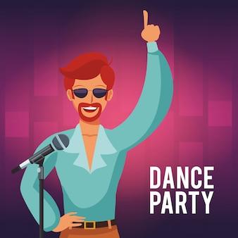 Dansfeest uitnodigingskaart met disco man kunstenaar zingen