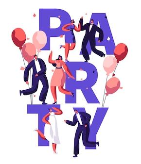 Dansfeest verjaardag typografie banner. gebeurtenis viering disco karakter op ballon uitnodigen flyer. modern entertainment motivatie poster design concept platte cartoon vectorillustratie