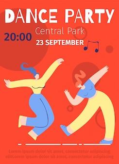 Dansfeestje advert festival vlakke kleurenposter