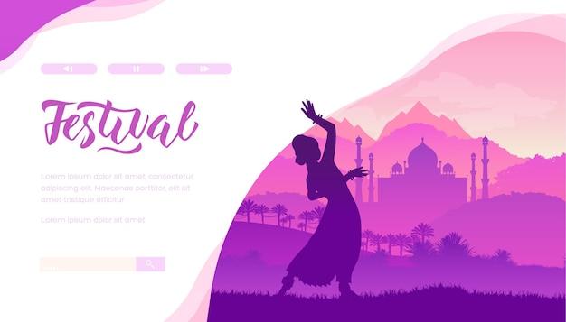 Dansfestival tegen de achtergrond van de pracht van het indiase landschap