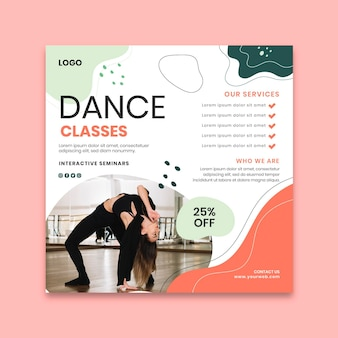 Danslessen kwadraat flyer-sjabloon