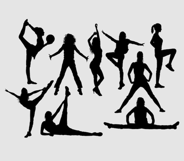 Dansoefeningen silhouet. goed gebruik voor symbool, logo, pictogram, mascotte of elk ontwerp dat u maar wilt