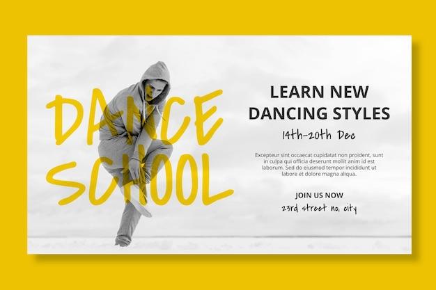 Dansschool horizontale sjabloon voor spandoek met mannelijke danser