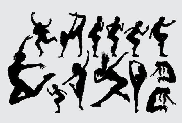 Danssport vrouwelijk en mannelijk silhouet