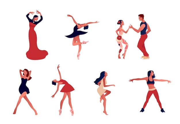 Dansstudio. set van gelukkige actieve positieve vrouwen dansen.