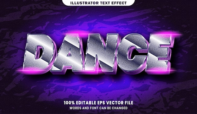 Danstekst, bewerkbaar teksteffect in lettertypestijl