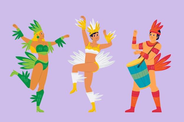 Dansvloer en muziek braziliaanse carnavalcollectie