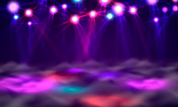 Dansvloerbanner, licht en rook op het podium. vector illustratie