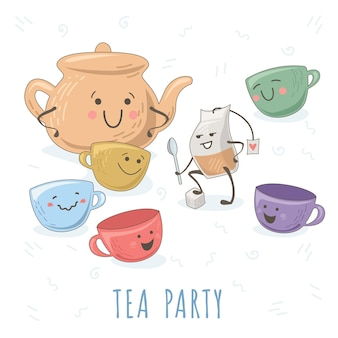 Dapper theezakje dat verhaal vertelt aan theepot en theekopjes