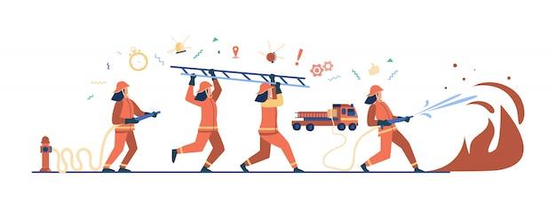 Dappere brandweerlieden met uniform en brandbestrijding met helmen