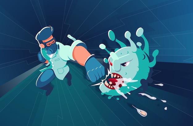 Dappere dokter in uniform slaat een harde klap op de kaak van een viraal monster
