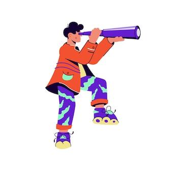 Dappere man met schaatsen die door paarse verrekijker kijken