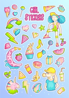 Dappere schattige mode meisje cartoon sticker set.