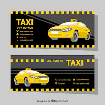 Dark banners met taxi