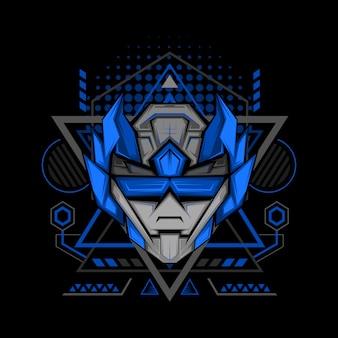 Dark blue ranger geometry style