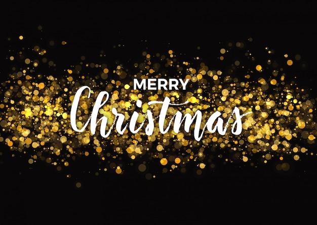 Dark christmas wenskaart ontwerp met gouden glitter