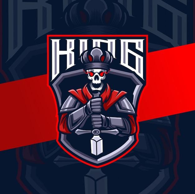 Dark king knight mascotte esport logo ontwerp