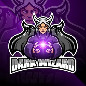 Dark wizard esport mascotte logo ontwerp
