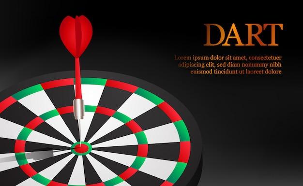Dart nauwkeurig en succesvol richtpunt op dartbord. zakelijke markt doel en doel