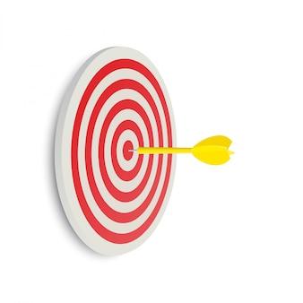 Darten doel. succes bedrijfsconcept. creatief geïsoleerd idee 3d illustratie
